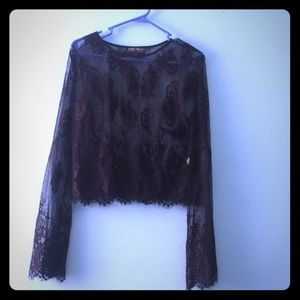 Lace flare blouse